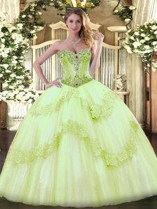 Ball Gowns Sleeveless Yellow Green Quinceanera Gown Lace Up