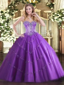 Sleeveless Tulle Floor Length Lace Up Quinceanera Dresses in Purple with Beading and Appliques