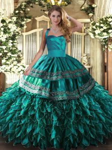 Best Turquoise Organza Lace Up Halter Top Sleeveless Floor Length Quinceanera Gowns Embroidery and Ruffles
