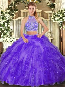 Chic Sleeveless Beading and Ruffles Criss Cross Vestidos de Quinceanera