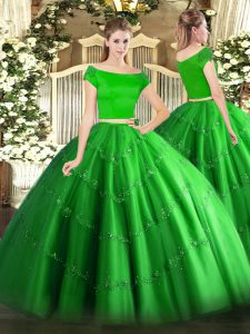 Glorious Tulle Off The Shoulder Short Sleeves Zipper Appliques Quinceanera Dresses in Green