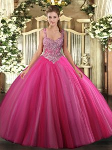 Shining V-neck Sleeveless Tulle 15 Quinceanera Dress Beading Lace Up