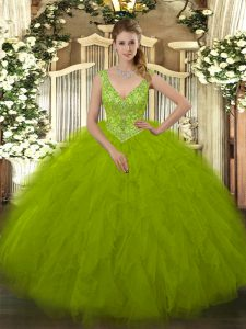 Decent Tulle Sleeveless Floor Length Quinceanera Dresses and Beading and Ruffles