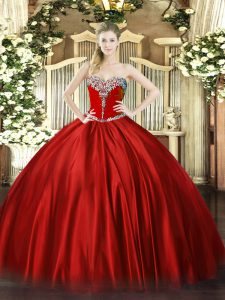 Chic Wine Red Lace Up Sweetheart Beading Ball Gown Prom Dress Satin Sleeveless