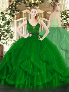 Floor Length Dark Green Sweet 16 Dresses Tulle Sleeveless Beading and Ruffles
