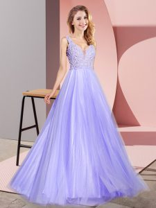 High Class Tulle V-neck Sleeveless Zipper Lace Prom Dress in Lavender