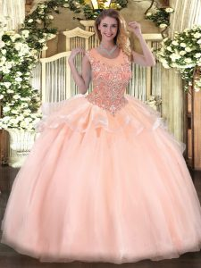 Peach Organza Zipper Quinceanera Gown Sleeveless Floor Length Beading