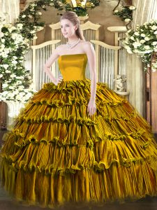 Traditional Brown Ball Gowns Organza Strapless Sleeveless Ruffled Layers Floor Length Zipper Sweet 16 Dresses