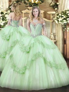 Eye-catching Apple Green Quinceanera Dress Military Ball and Sweet 16 and Quinceanera with Beading and Appliques Sweetheart Sleeveless Lace Up