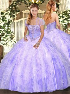 Superior Sleeveless Floor Length Appliques and Ruffles Lace Up 15 Quinceanera Dress with Lavender