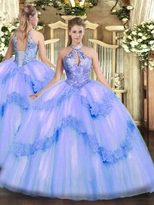 Floor Length Lace Up Vestidos de Quinceanera Blue for Military Ball and Sweet 16 and Quinceanera with Appliques and Sequins