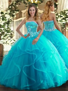 Fantastic Floor Length Aqua Blue Quinceanera Dresses Strapless Sleeveless Lace Up