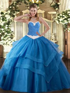 Ball Gowns Sweet 16 Dress Baby Blue Sweetheart Tulle Sleeveless Floor Length Lace Up