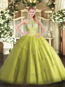 Dazzling Yellow Green Lace Up Halter Top Beading 15 Quinceanera Dress Tulle Sleeveless