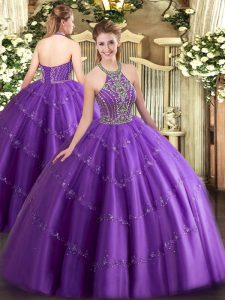 Clearance Halter Top Sleeveless Lace Up Quinceanera Gown Purple Tulle