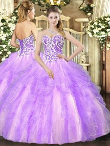 Attractive Sweetheart Sleeveless Lace Up Sweet 16 Quinceanera Dress Lavender Tulle