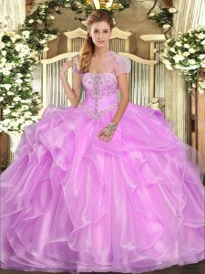 Lilac Lace Up Vestidos de Quinceanera Appliques and Ruffles Sleeveless Floor Length