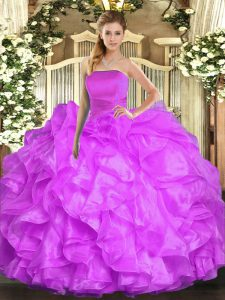 Traditional Lilac Sleeveless Floor Length Ruffles Lace Up Quinceanera Dress