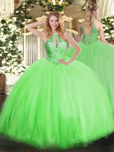 Cheap Sleeveless Floor Length Beading Lace Up Quinceanera Dress