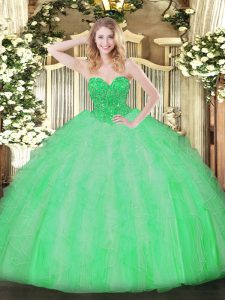 Fantastic Apple Green Ball Gowns Ruffles Ball Gown Prom Dress Lace Up Organza Sleeveless Floor Length