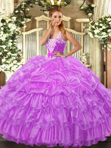 Cheap Lilac Ball Gowns Organza Straps Sleeveless Beading and Ruffled Layers and Pick Ups Floor Length Lace Up Quinceanera Dress