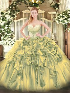Hot Sale Olive Green Sweetheart Neckline Beading and Ruffles 15 Quinceanera Dress Sleeveless Lace Up