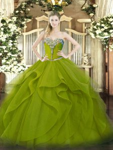 Modest Olive Green Sweetheart Lace Up Beading and Ruffles 15th Birthday Dress Sleeveless