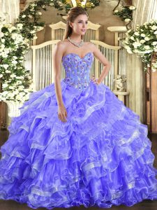 Fantastic Lavender Sleeveless Organza Lace Up Sweet 16 Dress for Military Ball and Sweet 16 and Quinceanera