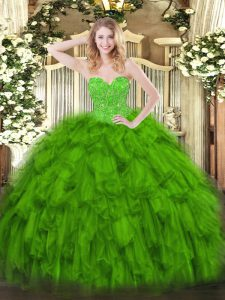 Sexy Green Organza Lace Up Vestidos de Quinceanera Sleeveless Floor Length Beading and Ruffles