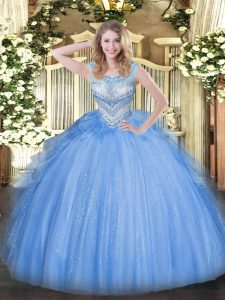 Custom Made Floor Length Blue Sweet 16 Dresses Tulle Sleeveless Beading