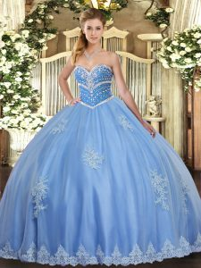 Blue Sleeveless Beading and Appliques Floor Length Sweet 16 Dress