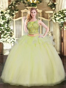 Clearance Yellow Scoop Neckline Beading Quinceanera Dress Sleeveless Lace Up