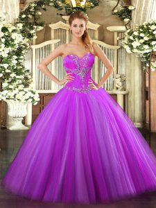Fantastic Fuchsia Sleeveless Tulle Zipper Quinceanera Gown for Sweet 16 and Quinceanera