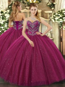 Dynamic Sleeveless Tulle Floor Length Lace Up Sweet 16 Dresses in Fuchsia with Beading