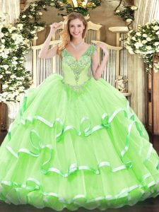 Low Price Ball Gowns V-neck Sleeveless Organza Floor Length Lace Up Beading and Ruffled Layers Quince Ball Gowns
