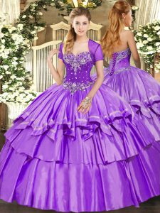 Lavender Ball Gowns Sweetheart Sleeveless Organza and Taffeta Floor Length Lace Up Beading and Ruffled Layers Ball Gown Prom Dress