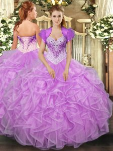 High End Lilac Sweetheart Lace Up Beading and Ruffles 15 Quinceanera Dress Sleeveless