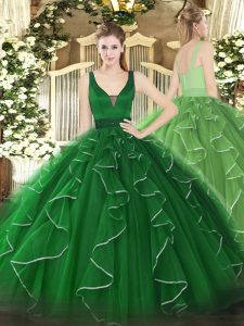 Green Sleeveless Beading and Ruffles Floor Length Sweet 16 Quinceanera Dress