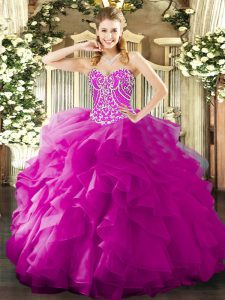 Fuchsia 15th Birthday Dress Military Ball and Sweet 16 and Quinceanera with Beading and Ruffles Sweetheart Sleeveless Lace Up
