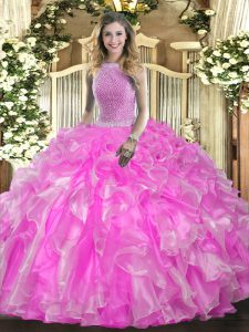 Rose Pink Lace Up High-neck Beading and Ruffles Sweet 16 Dress Organza Sleeveless