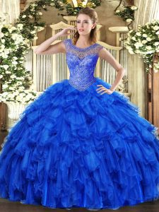 Great Royal Blue Organza Lace Up Quince Ball Gowns Sleeveless Floor Length Beading and Ruffles