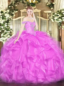 Dramatic Lilac Organza Lace Up Sweet 16 Dress Sleeveless Floor Length Beading and Ruffles