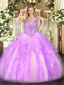 On Sale Lilac Lace Up V-neck Beading and Ruffles Sweet 16 Dresses Organza Sleeveless