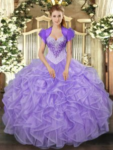 Fashion Sweetheart Sleeveless 15 Quinceanera Dress Floor Length Beading and Ruffles Lavender Organza