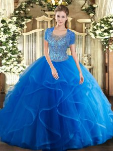 Nice Royal Blue Ball Gowns Scoop Sleeveless Tulle Floor Length Clasp Handle Beading and Ruffles Quinceanera Gowns