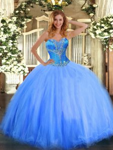 Affordable Blue Tulle Lace Up Sweetheart Sleeveless Floor Length Quinceanera Dresses Beading