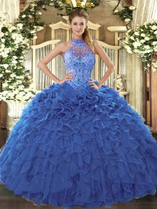 High Class Sleeveless Floor Length Beading and Embroidery and Ruffles Lace Up Quinceanera Gowns with Blue