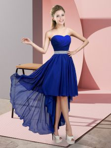 A-line Prom Evening Gown Blue Sweetheart Chiffon Sleeveless High Low Lace Up