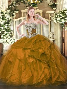 New Arrival Brown Strapless Lace Up Beading and Ruffles Vestidos de Quinceanera Sleeveless