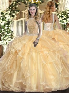 Excellent Sleeveless Organza Floor Length Lace Up Quinceanera Gown in Champagne with Beading and Ruffles